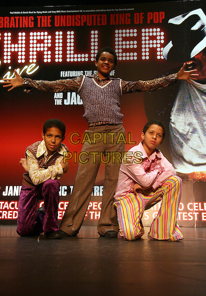 THRILLER.Theatre photocall..Thriller pays tribute to the musical  hits and career of Michael Jackson and The Jackson Five and stars Layton Williams (tall, the first black 'Billy Elliott'), Sterling Williams (striped trousers, Simba in The Lion King) and newcomer Kieron Alleyne (purple trousers).The Lyric Theatre, Shaftsbury Avenue, London.5th December 2008.CAP/DS.©Dudley Smith/Capital Pictures