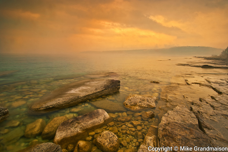 Morning fog on Georgian Bay. Limestone Rock. Barrow Bay.<br />