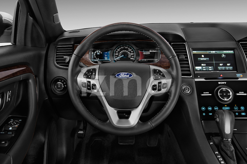 Steering wheel view of a 2013 Ford Taurus LTD