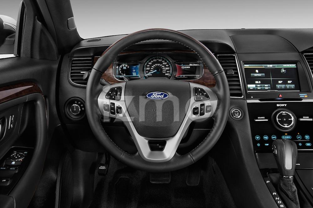 Steering wheel view of a 2017 Ford Taurus LTD