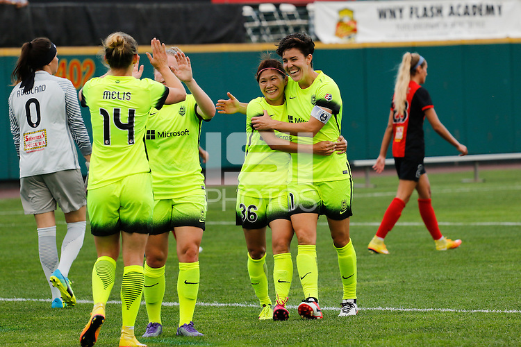 Rochester, NY - Saturday July 09, 2016: Nahomi Kawasumi celebrates scoring during a regular season National Women's Soccer League (NWSL) match between the Western New York Flash and the Seattle Reign FC at Frontier Field.