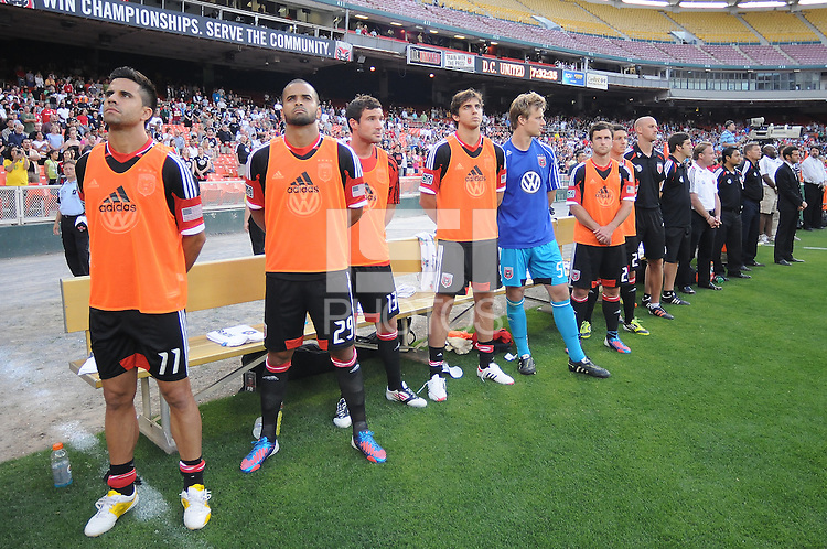 D.C. United bench at the presentation of the teams.  D.C. United defeated Toronto FC 3-1 at RFK Stadium, Saturday May 19, 2012.