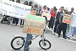 Younes who is an Asylum seeker in, Mosney, Co Meath protesting this morning as 150 people are being moved to alternative accommodation..Photo NEWSFILE/Jenny Matthews.(Photo credit should read Jenny Matthews/NEWSFILE)....This Picture has been sent you under the condtions enclosed by:.Newsfile Ltd..The Studio,.Millmount Abbey,.Drogheda,.Co Meath..Ireland..Tel: +353(0)41-9871240.Fax: +353(0)41-9871260.GSM: +353(0)86-2500958.email: pictures@newsfile.ie.www.newsfile.ie.FTP: 193.120.102.198.