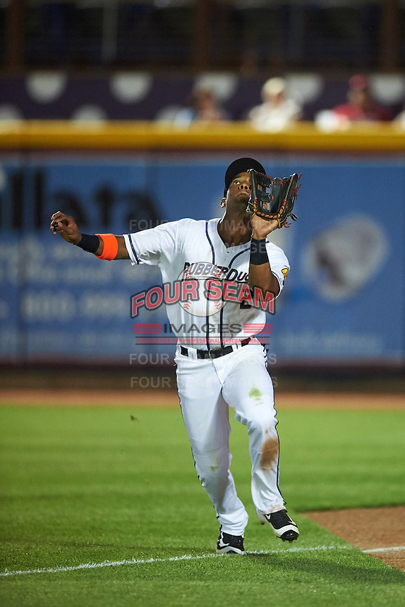 Akron RubberDucks right fielder Luigi Rodriguez (2) catches a fly ball during a game against the Richmond Flying Squirrels on July 26, 2016 at Canal Park in Akron, Ohio .  Richmond defeated Akron 10-4.  (Mike Janes/Four Seam Images)