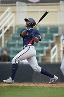 Darling Florentino (13) of the Rome Braves follows through on his swing against the Kannapolis Intimidators at Kannapolis Intimidators Stadium on April 7, 2019 in Kannapolis, North Carolina. The Intimidators defeated the Braves 2-1. (Brian Westerholt/Four Seam Images)