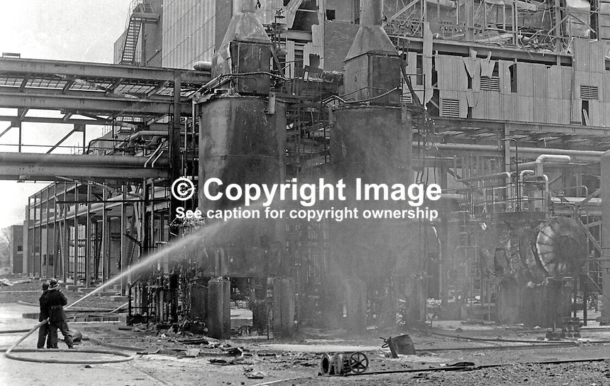Firemen hosing down at the Courtalds plant, Carrickfergus, Co Antrim, N Ireland, following Provisional IRA bomb attack in which 1 man died and 10 were injured, some seriously. Security forces claimed inadequate warning was given to prevent loss of life. 197205010202b.<br /> <br /> Copyright Image from Victor Patterson, 54 Dorchester Park, Belfast, UK, BT9 6RJ<br /> <br /> t1: +44 28 9066 1296 (from Rep of Ireland 048 9066 1296)<br /> t2: +44 28 9002 2446 (from Rep of Ireland 048 9002 2446)<br /> m: +44 7802 353836<br /> <br /> e1: victorpatterson@me.com<br /> e2: victorpatterson@gmail.com<br /> <br /> www.victorpatterson.com<br /> <br /> IMPORTANT: Please see my Terms and Conditions of Use at www.victorpatterson.com