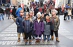 """Johan Johnston, Anna Johnston, Trent Johnston, Emma Johnston, Amber Johnston, Alex Johnston and Elizabeth Johnston from the cast of TLC's """"7 Little Johnstons"""" filming promoting filming a visit to Times Square on January 4, 2019 in New York City."""