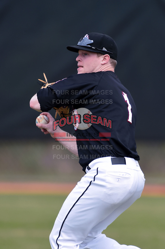 Saint Joseph's Hawks outfielder Nate Shank (1) during practice before a game against the Indiana Hoosiers on March 7, 2015 at North Charlotte Regional Park in Port Charlotte, Florida.  Indiana defeated Saint Joseph's 3-2.  (Mike Janes/Four Seam Images)