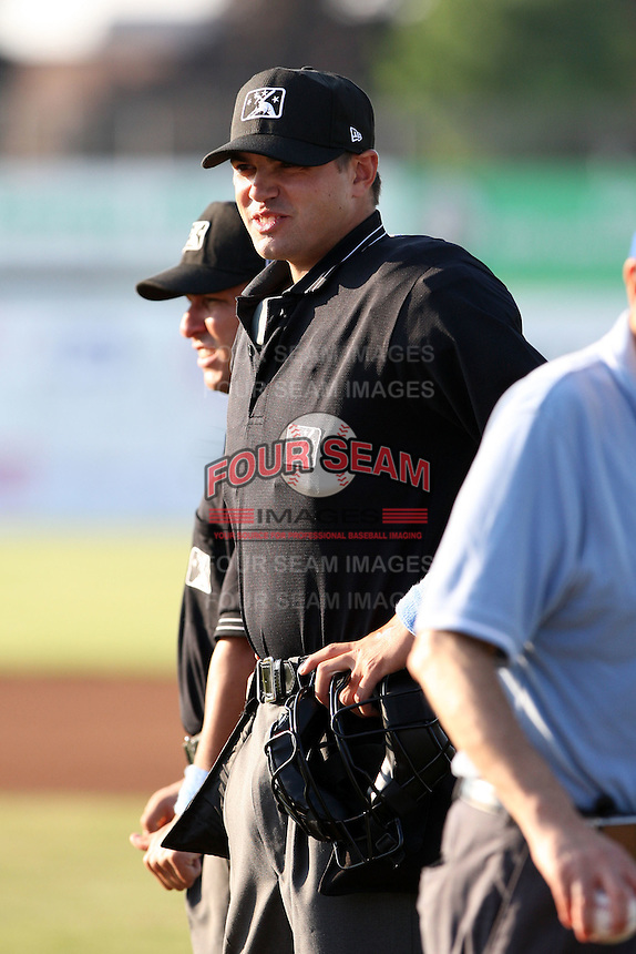 Home plate umpire Dustin Klinghagen before a game at Dwyer Stadium in Batavia, New York on June 19, 2010.  Photo By Mike Janes/Four Seam Images