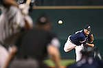 Reno Aces' Bo Schultz pitches against the Omaha Storm Chasers in the first game of the PCL championship series in Reno, Nev., on Monday, Sept. 8, 2014. <br /> Photo by Cathleen Allison