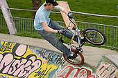 Skateboard and cycle bowl in Meanwhile Gardens, North Kensington, London.