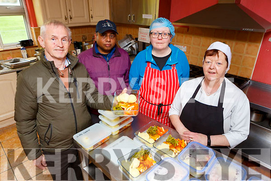 Brian O'Connor, with the Beaufort Community Employment scheme workers who are making meals for the elderly l-r: Razib Ahmed, Sheila O'Connor and Karen O'Sullivan