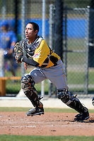 Pittsburgh Pirates catcher Francisco Diaz #27 during a minor league spring training game against the Toronto Blue Jays at Englebert Minor League Complex on March 16, 2013 in Dunedin, Florida.  (Mike Janes/Four Seam Images)
