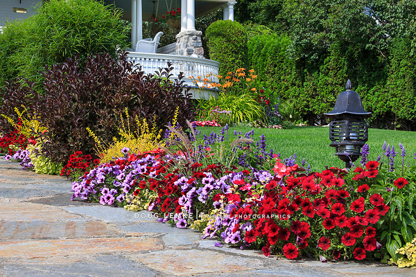 One of the countless beautiful floral landscapes and Gardens on Mackinac Island, Michigan, USA