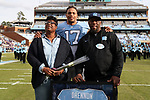 CHAPEL HILL, NC - NOVEMBER 18: UNC's Dajaun Drennon was honored as part of Senior Day pregame activities. The University of North Carolina Tar Heels hosted the Western Carolina University Catamounts on November 18, 2017 at Kenan Memorial Stadium in Chapel Hill, NC in a Division I College Football game. UNC won the game 65-10.