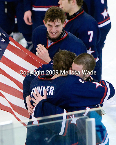 Chris Brown (US - 12), Cam Fowler (US - 4), Jack Campbell (US - 1) - The US defeated Russia 5-0 in the 2009 World Under 18 Championship gold medal game at the Urban Plains Center in Fargo, North Dakota, on Sunday, April 19, 2009.