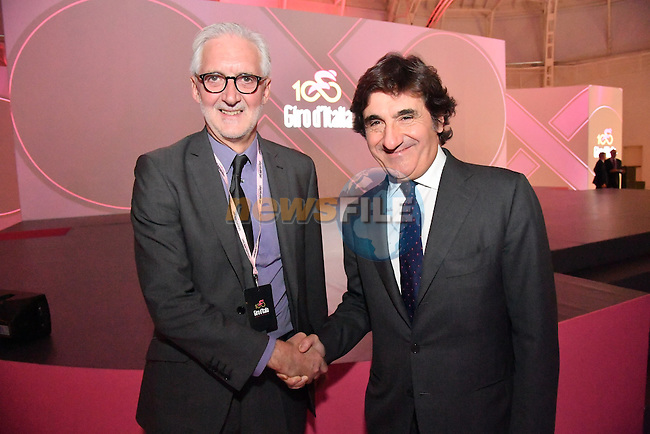 UCI President Brian Cookson and RCS MediaGroup Chairman and CEO Urbano Cairo at the 100th edition Giro d`Italia 2017 route presentation held at the Ice Palace in Milan, 25th October 2016.<br /> Picture: ANSA/Luca Zennaro | Newsfile<br /> <br /> <br /> All photos usage must carry mandatory copyright credit (&copy; Newsfile | ANSA/Luca Zennaro)