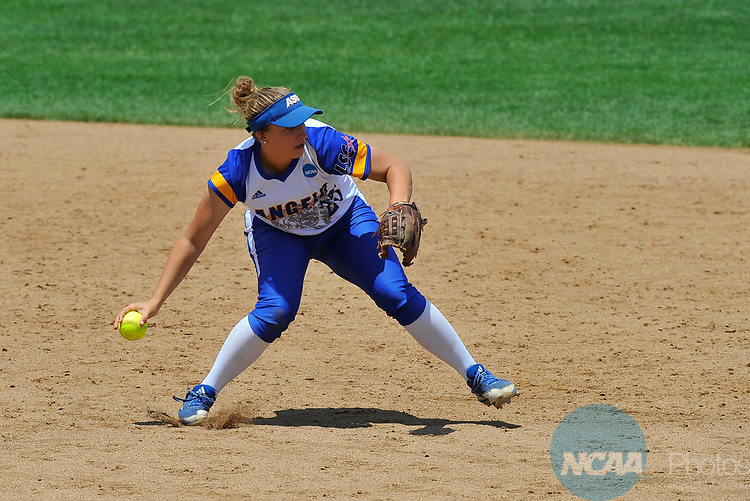 SALEM, VA - MAY 29:  Amanda Ramage (25) of Angelo State University makes a play against Minnesota State University during the Division II Women's Softball Championship held at Moyer Park on May 29, 2017 in Salem, Virginia. Minnesota State defeated Angelo State 5-1 to win the national championship. (Photo by Andres Alonso/NCAA Photos via Getty Images)