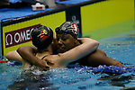 INDIANAPOLIS, IN - MARCH 18: Simone Manuel of Stanford University and Mallory Comerford of the University of Louisville embrace following the 100-yard freestyle during the Division I Women's Swimming & Diving Championships held at the Indiana University Natatorium on March 18, 2017 in Indianapolis, Indiana. (Photo by A.J. Mast/NCAA Photos via Getty Images)