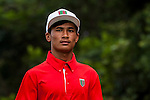 Jie Hong of Nepal looks on at tee one during the 9th Faldo Series Asia Grand Final 2014 golf tournament on March 18, 2015 at Faldo course in Mid Valley clubhouse in Shenzhen, China. Photo by Xaume Olleros / Power Sport ImagesArun Tamang