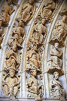 "North Porch, Central Portal, left Archivolts c. 1194-1230. Cathedral of Chartres, France. The Jesse Tree shows the genealogy of Christ, based on the words of Isaiah's prophecy (Isaiah 11:1 "" And there shall come forth a rod out of the root of Jesse, and a flower shall rise up out of his root."") The Innermost archivolt contains angels. The second and fifth archivolts from the centre contains Old Testament prophets, many nimbed and holding scrolls. The third and fourth archivolts contain seated figures of the royal ancestors of Christ, surrounded by foliage of the Jesse Tree. A UNESCO World Heritage Site."