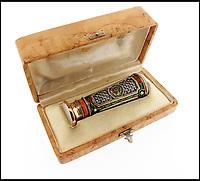 BNPS.co.uk (01202)558833Pic: Woolley&Wallis/BNPS<br /> <br /> Original case.<br /> <br /> It never rains but it pours...<br /> <br /> Fabulous Faberge parasol handle sell for a whopping £75,000 - Over 10 times its estimate!