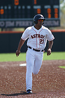 Buies Creek Astros infielder Dexture McCall (27) running the bases during a game against the Winston-Salem Dash at Jim Perry Stadium on the campus of Campbell University on April 9, 2017 in Buies Creek, North Carolina. Buies Creek defeated Winston-Salem 2-0. (Robert Gurganus/Four Seam Images)