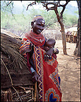 Samburu mother  and child   , near,  Maralal Northern Kenya .