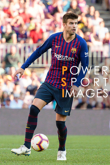 Gerard Pique Bernabeu of FC Barcelona in action during their La Liga  2018-19 match between Barcelona and Athletic Bilbao at Camp Nou Stadium on September 29, 2018 in Barcelpona, Spain. Photo by Vicens Gimenez / Power Sport Images