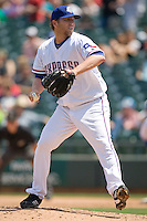Round Rock Express starting pitcher Brett Tomko (35) throws against the Iowa Cubs on April 10th, 2011 at Dell Diamond in Round Rock, Texas.  (Photo by Andrew Woolley / Four Seam Images)