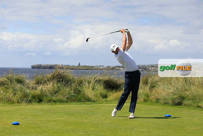 Mark Morrissey (Mount Wolseley) on the 4th tee during Round 2 of the South of Ireland Amateur Open Championship at LaHinch Golf Club on Thursday 23rd July 2015.<br /> Picture:  Golffile | Thos Caffrey