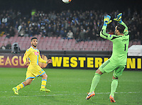 Lorenzo Insigne shoots to score <br /> <br />  UEFA Europa League round of 32 second  leg match, betweenAC  Napoli  and Swansea City   at San Paolo stadium in Naples, Feburary 27 , 2014  <br /> <br /> gol