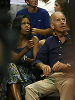 Washington, D.C- July 16 2012: First Lady Michelle Obama and Vice President Joe Biden at the USA Basketball game at Verizon Center in Washington, D.C. © mpi34/MediaPunch Inc.