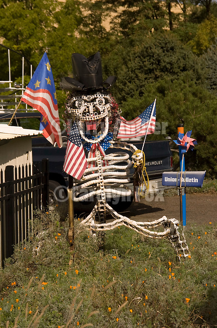Home-made skeleton with US flags in yard near Walla Walla, Wash.