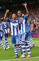Men's Olympic Football match Honduras v Morocco on 26.7.12...Jerry Bengston (right) and Arnold Peralta of Honduras celebrate Bengston scoring, during the Honduras v Morocco Men's Olympic Football match at Hampden Park, Glasgow.........