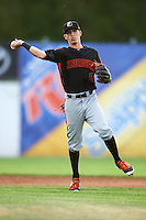 Aberdeen Ironbirds shortstop Chris Clare (5) throws to first during a game against the Batavia Muckdogs on July 16, 2016 at Dwyer Stadium in Batavia, New York.  Aberdeen defeated Batavia 9-0. (Mike Janes/Four Seam Images)