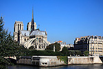 View of Notre Dame Notre-Dame cathedral and Île de la Cité from Left Bank of River Seine. city of Paris. Paris. France
