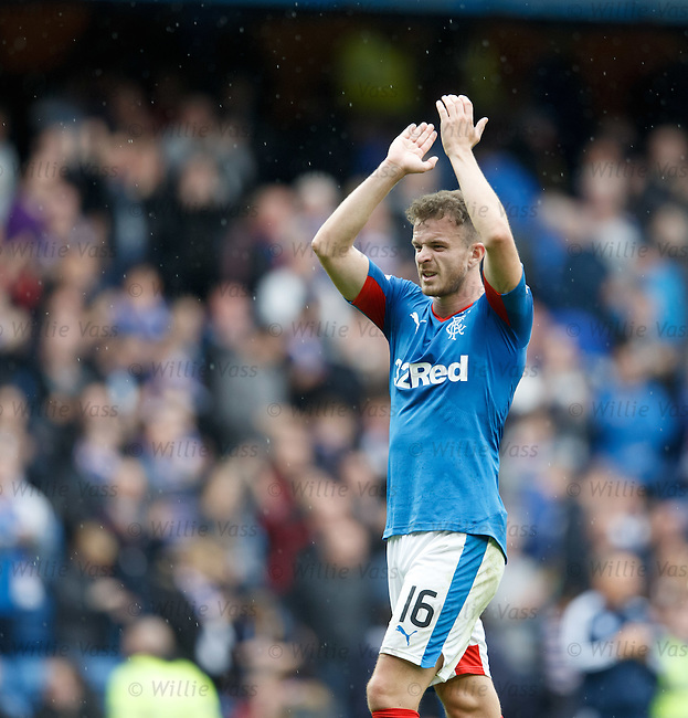 Andy Halliday salutes the Rangers fans at full time