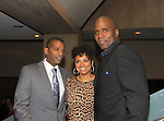 """Prospect Park's All My Children's Debbi Morgan poses with her 2 husbands - TV Darnell Williams and her real husband at New York Premiere Event for beloved series """"All My Children"""" on April 23, 2013 at NYU Skirball, New York City, New York  as The Online Network (TOLN) - AMC - OLTL  begin airing on April 29, 2013 on Hulu, Hulu Plus. (Photo by Sue Coflin/Max Photos)"""