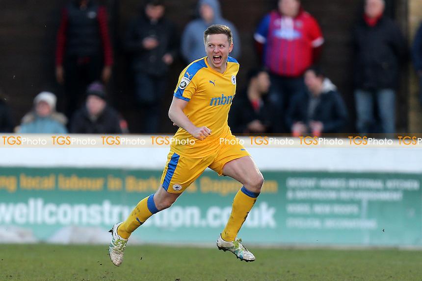 Tom Shaw of Chester celebrates scoring the second goal during Dagenham & Redbridge vs Chester, Vanarama National League Football at the Chigwell Construction Stadium on 4th February 2017