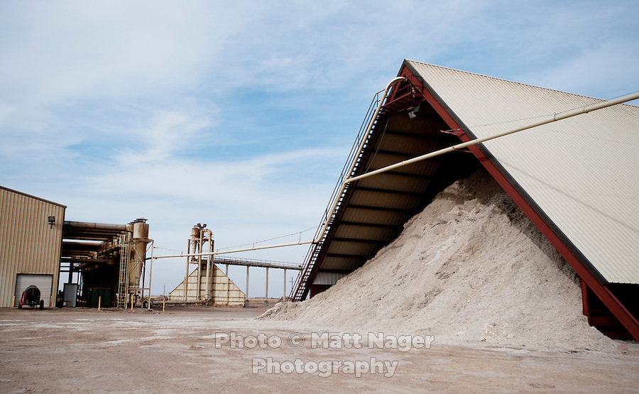 A storage barn filled with cotton seed at the Moore County Cotton Gin in Dumas, Texas, Monday, February 14, 2011. With the high price of cotton in recent years, many farmers in the area have switched to start farming cotton...Photo by Matt Nager