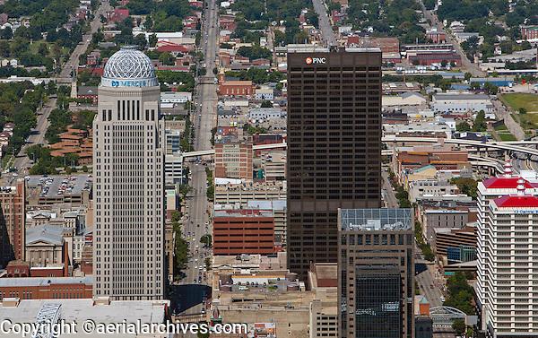 aerial photograph AEGON Center, PNC Plaza, downtown Louisville, Kentucky