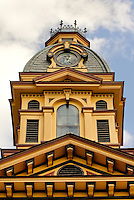 Architectural photography of the Cabarrus County Courthouse (circ. 1876), located on Union Street South, Concord, North Carolina. The Courthouse is home to The Galleries, Davis Theatre, and Cabarrus County Veterans Museum. Photo is part of a photographic series of images featuring Concord, NC, by photographer Patrick Schneider..