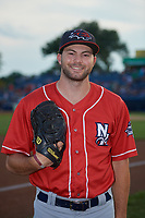 New Hampshire Fisher Cats pitcher Jake Fishman (17) poses for a photo before an Eastern League game against the Trenton Thunder on August 20, 2019 at Arm & Hammer Park in Trenton, New Jersey.  New Hampshire defeated Trenton 7-2.  (Mike Janes/Four Seam Images)