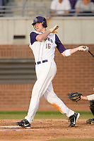 Ryan Wood #16 of the East Carolina Pirates follows through on his swing versus the Elon Phoenix at Clark-LeClair Stadium March 29, 2009 in Greenville, North Carolina. (Photo by Brian Westerholt / Four Seam Images)