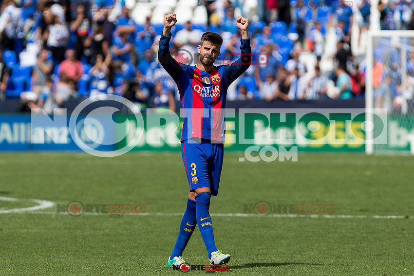 FC Barcelona's Gerard Pique during the match of La Liga between Club Deportivo Leganes and Futbol Club Barcelona at Butarque Estadium in Leganes. September 17, 2016. (ALTERPHOTOS/Rodrigo Jimenez) /NORTEPHOTO
