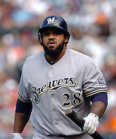 Milwakee Brewers infielder Prince Fielder #28 during a game against the New York Mets at Citi Field on August 20, 2011 in Queens, NY.  Brewers defeated Mets 11-9.  Tomasso DeRosa/Four Seam Images