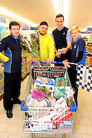 Pictured at the Christmas Trolley Dash in Lidl Killarney is David Paweloszek, with Paudie O'Keeffe, Store Assisitant Manager and Sales Assistants Denis Keane  and Anna Wlodarczyk when he was one of the lucky 141 winners of the nationwide Lidl Trolley Dash, which took place Saturday 13th December in every Lidl store across the country. As well as winning their Christmas shopping for free(the average of goods won per person totalled &euro;350), each winner also contributed to the whopping &euro;135,438 which was raised from ticket sales in just 2 short weeks. A total of &euro;6,145 was raised in Kerry alone.<br /> Speaking about Lidl&rsquo;s Christmas trolley dash, Sinead Flynn, CSR assistant with Lidl Ireland, said: &ldquo;We are thrilled with the result of our Christmas fundraising initiatives for our Charity partner Barretstown. In two short weeks, Lidl stores across the country have raised over &euro;135,000 from one initiative alone. We would like to thank all of our customers who have supported Barretstown through these initiatives and look forward to ramping up our activities in 2015 to raise even more much needed funds for Barretstown.&quot; <br /> <br /> This year, Lidl also hosted its Christmas Markets in Dublin and Limerick for the first year ever. Visits to Santa cost &euro;8 and rides on the carousel were &euro;2 per person, with all funds raised going to Barretstown. Barretstown Christmas cards are also on sale in all stores nationwide. In excess of 25,000 units have sold to date, and Barretstown Christmas cards will be available in store for the remainder of the festive season. This brings the total of funds raised by the retailer to a whopping &euro;185,594 through its Christmas fundraising activity for its charity partner, Barretstown, in just six short weeks, with still nine days to go until Christmas.<br /> <br /> Speaking about Lidl&rsquo;s Christmas fundraising activity, Dee Ahearn, CEO of Barretstown, said: &ldquo;We are absolutely delighted with Lidl&rsquo;s fundraising activities in the run up to Christmas. So far &euro;1