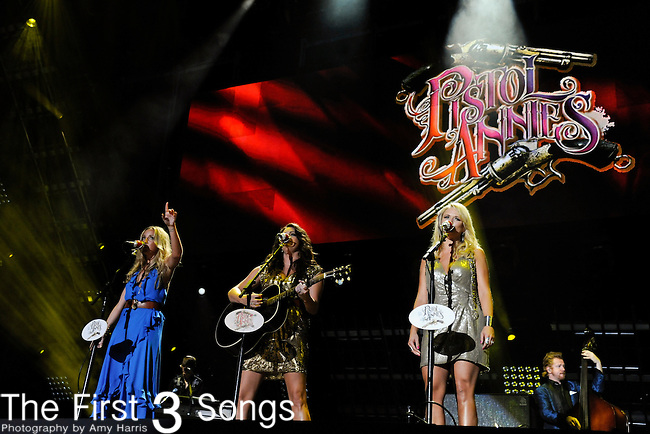 Ashley Monroe, Angaleena Presley, and Miranda Lambert of the Pistol Annies perform at LP Field during the 2011 CMA Music Festival on June 12, 2011 in Nashville, Tennessee.