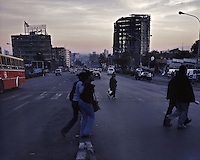 People cross Churchill Road at dusk in Ethiopia's capital Addis Ababa on Friday November 6, 2009.